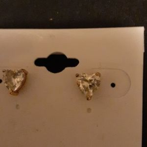 Jewelry - Golden-tone Sterling Silver Heart Shaped Studs